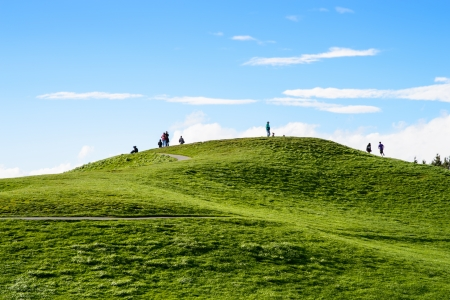 Beautiful green hill in Gas Work Park, Seattle, Washington Stock Photo