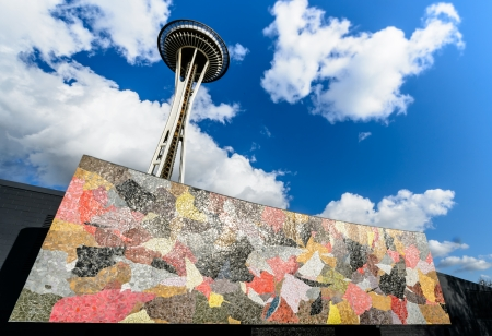 Space Needle behind the Seattle mural located in  Seattle center.