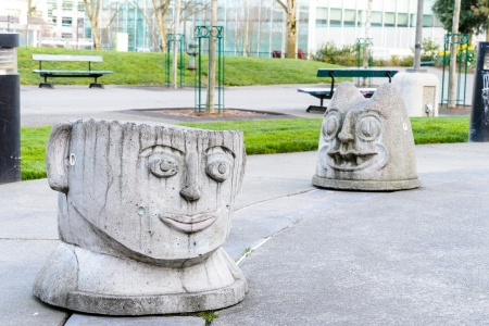 Face sculptures located in Seattle center Editorial