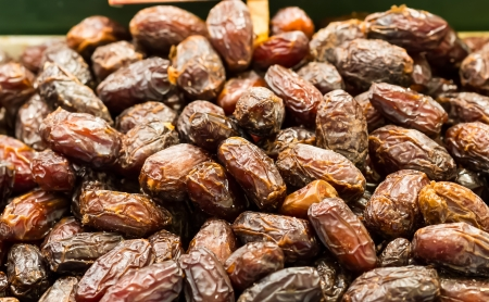 Medjool dates on market stand