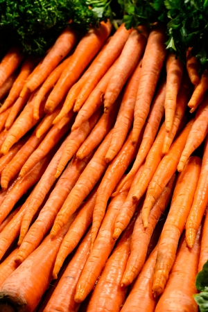pike place: Fresh carrots in Pike Place Market, Seattle Stock Photo