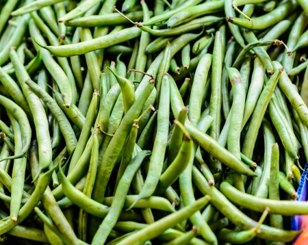 Green beans on market stand