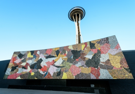 Space Needle behind the Seattle mural located in  Seattle center