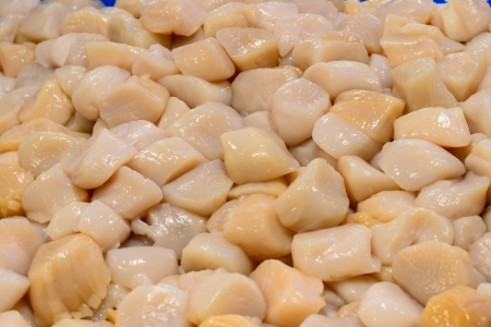Pile of peeled raw scallops for grill on market stand