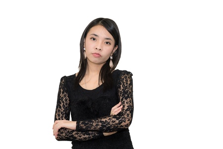 A beautiful young asian woman with arm-crossed Stock Photo