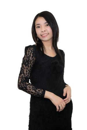 Black-dressed beautiful Asian woman Stock Photo