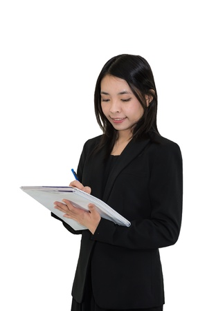 portrait of Thai business woman taking notebook