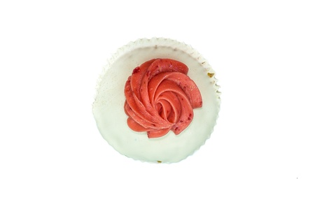 Cupcake top-viewed isolated on white background photo