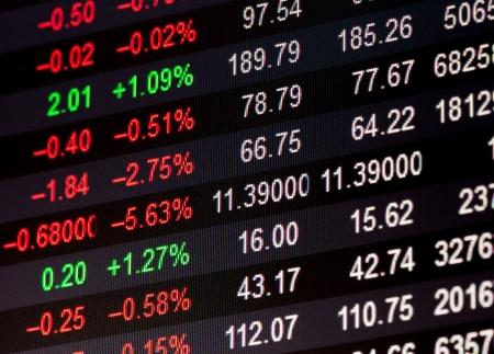 bolsa de valores: Visualizaci?n de las cotizaciones del mercado de valores Foto de archivo