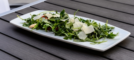 dishtowel: arugula salad Stock Photo