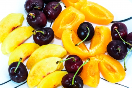 sherry: a dish of sherry, nectarines, and peach