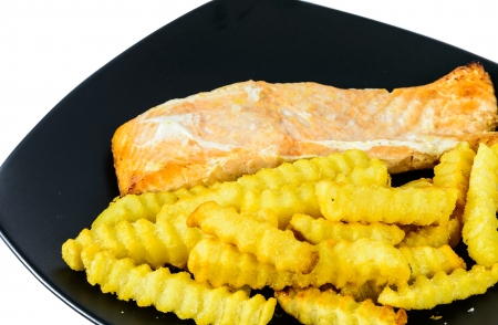 French fried and broiled salmon photo