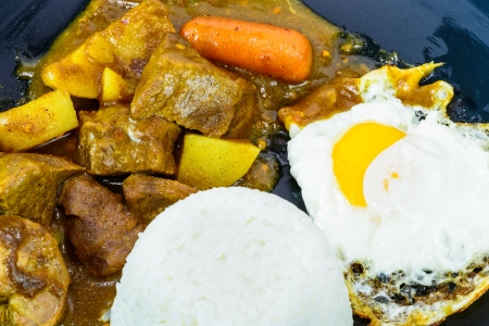 side of beef: sunny side up egg and beef curry rice, Japanese cuisine