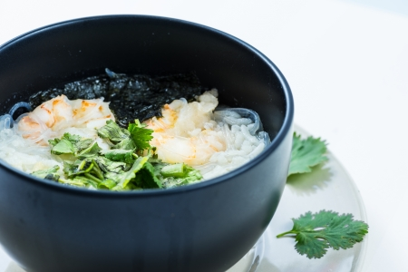 boiled rice with shrimp photo