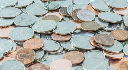 Close-up of US coins, quarters, dimes, nickels and pennies Stock Photo - 21050577