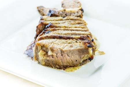 ribeye: Cooked rib-eye steak