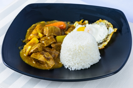 beef curry: sunny side up egg and beef curry rice, Japanese cuisine