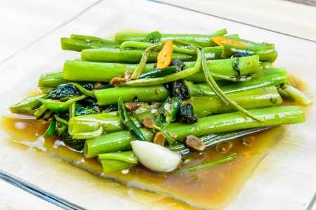 Stir Fried Water Spinach, Thai food