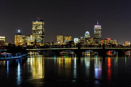 Boston skyline and the Longfellow bridge on the day water in the river turned into ice Stock Photo