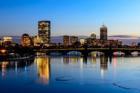 Boston Skyline 2014 at twilight time in Massachusetts - USA