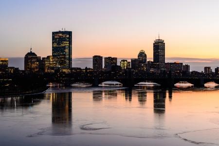 Sunset view of Boston skyline
