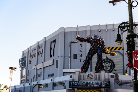 ORLANDO- DECEMBER 19 2013: The statue of Optimas Prime robot at Universal Studios  in Orlando USA. Optimus Prime is a character from the Transformers franchise.