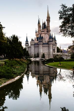 cinderella: ORLANDO, USA - December 20, 2013: Cinderella castle at Walt Disney World in Orlando. Walt Disney World resort is opened in October 1, 1971 as an entertainment complex.