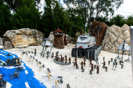 ORLANDO, USA - DECEMBER 22, 2013: LEGO STAR WARS Miniland at Legoland Orlando on December 22, 2013 in Orlando, Florida. Editorial