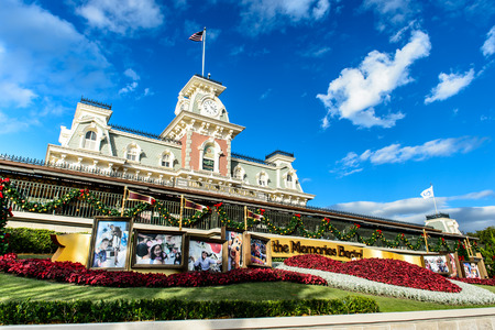 ORLANDO, USA - December 20, 2013: Entrance of Magic Kingdom at Walt Disney World in Orlando. Walt Disney World resort is opened in October 1, 1971 as an entertainment complex.