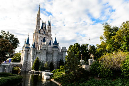 ORLANDO, USA - December 20, 2013: Cinderella castle at Walt Disney World in Orlando. Walt Disney World resort is opened in October 1, 1971 as an entertainment complex.