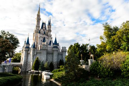 editorial: ORLANDO, USA - December 20, 2013: Cinderella castle at Walt Disney World in Orlando. Walt Disney World resort is opened in October 1, 1971 as an entertainment complex.