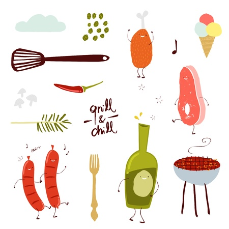Grill Party Set Vector