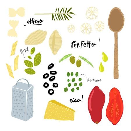 spaghetti bolognese: Italian Cuisine Ingredients Illustration