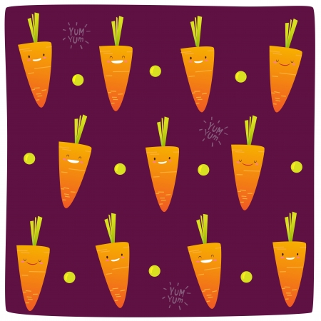 Happy Carrot Pattern Stock Vector - 18996528