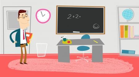 teacher at desk: Classroom