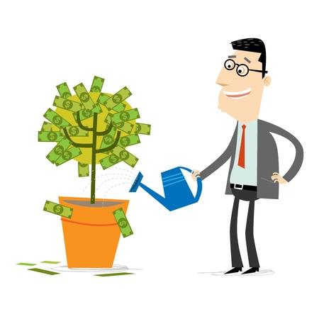 regando plantas: Árbol del dinero Vectores