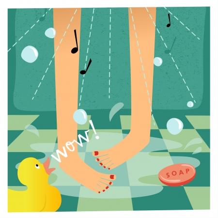 mujer bañandose: Canto en la ducha Vectores