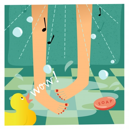 sexy shower: Singing In The Shower Illustration