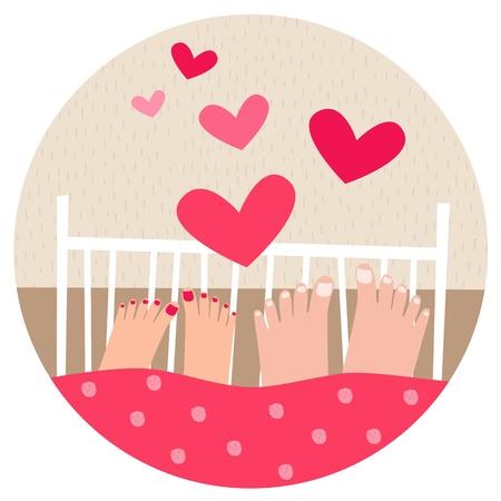 sexo femenino: Una pareja en la cama Vectores