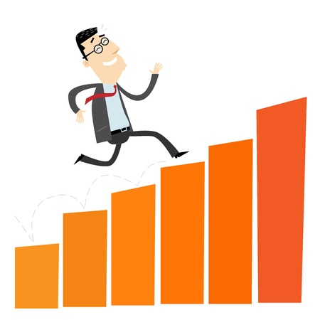 cartoon orange: Climbing Businessman