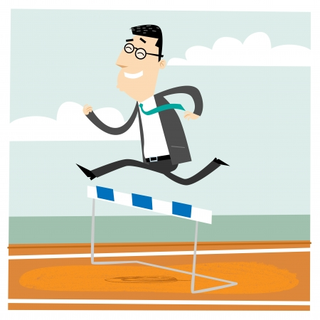 Man jumping over an obstacle on a running track on the way to succes.