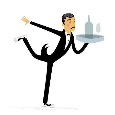 Ice Skating Waiter Vector