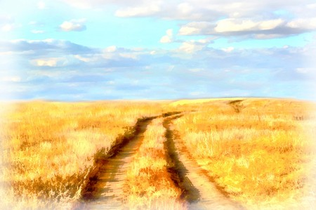 horizon over land: Watercolor drawing of a yellow road through dry field, blue sky.
