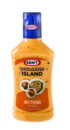 Winneconne WI - 30 January 2015: Bottle of Kraft Thousand Island salad dressing.  Kraft was founded in 1903 and is located in Northfield, IL.