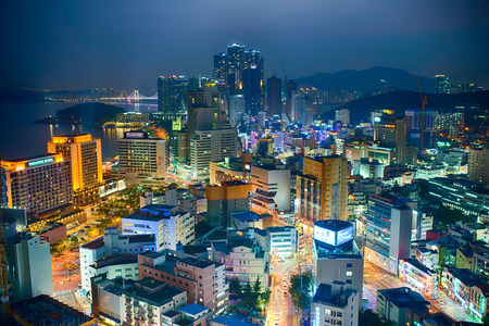 south korea: Shot from a roof top overlooking Haeundae district of Busan, South Korea.