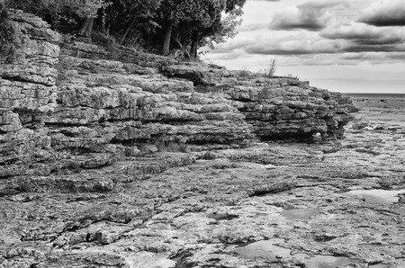 stoney point: Cave Point in Door County  Wisconsin Stock Photo