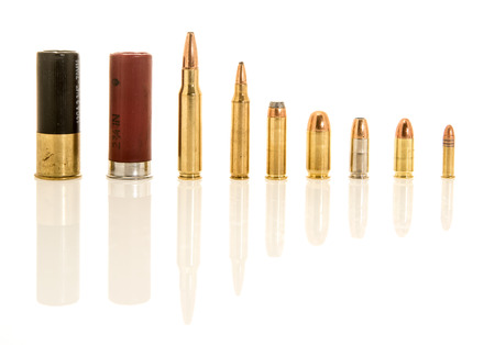 Image containing both shotgun shells, rifle and handgun ammunation in  different calibers. Included are 12 guage .308 or 7.62mm NATO, .223 or 5.56mm NATO, .45, .38 special, 9mm hollow point, 9mm, .22 long rifle.