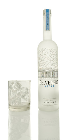 Winneconne, WI - 4 Mayl 2016: Bottle Belvedere Vodka with a glass of ice on an isolated background
