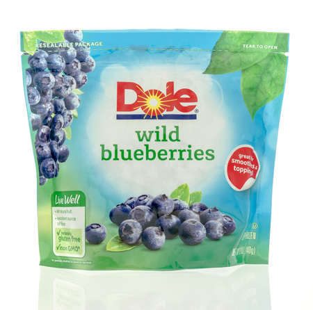 on the dole: Winneconne, WI - 5 May 2016: Bag of wild blueberries from Dole on an isolated background