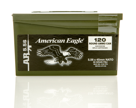 reloaded: Winneconne, WI - 10 Jan 2016: Ammo can of American Eagle 5.56 x 45mm Nato rounds. Editorial
